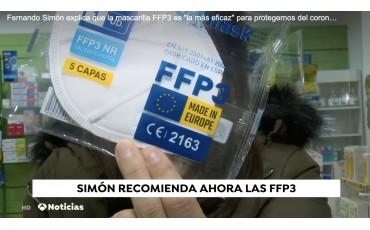 Fernando Simón explica que la mascarilla FFP3 es la más eficaz para protegernos del coronavirus